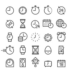 clock line icons set vector image