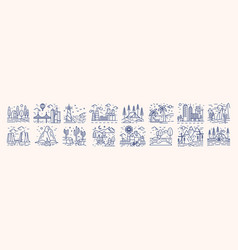collection of picturesque landscape icons or vector image