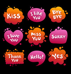 Collection various balloons with message phrases vector