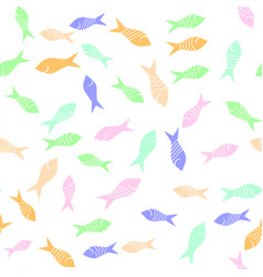 colored fish silhouettes seamless pattern vector image