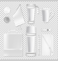 corporate identity design set with cup pen and vector image