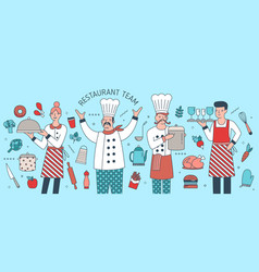 creative banner with chief cook waiter and vector image