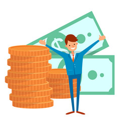 Currency dollar coins and money worker vector