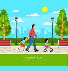 Dad children flat poster vector