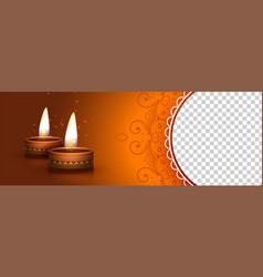 Deepawali banner with burning diya lamp and image vector