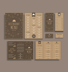 Design a4 menu retro folding brochures flyers for vector