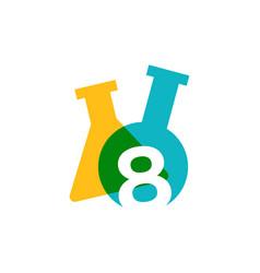 eight 8 number lab laboratory glassware beaker vector image