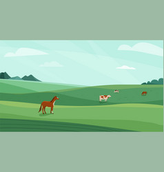 farm landscape green meadow vector image