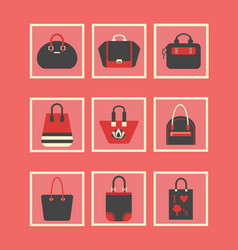 feminine red purses and hand bags icons set vector image