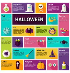 Flat Design Icons Infographic Halloween Holiday vector image