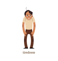 Flat man suffering from tiredness vector
