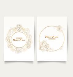 frame hand drawn rose golden flower floral vector image