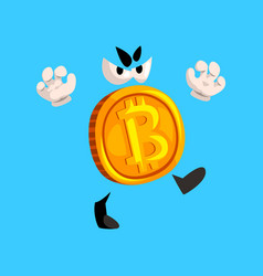 Funny grumpy bitcoin character crypto currency vector