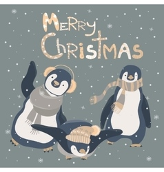 Funny penguins friends celebrating Christmas vector image