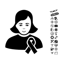 Girl With Sympathy Ribbon Icon With Air Drone vector
