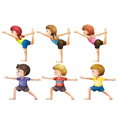 Girls and boys doing yoga vector