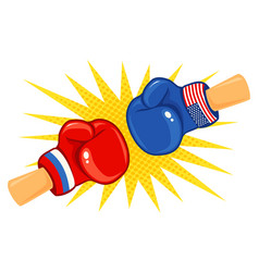 Gloves with two flags vector