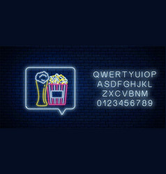 glowing neon sign beer and popcorn in message vector image