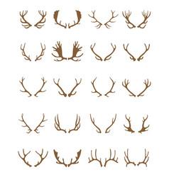 golden silhouettes of deer horns vector image