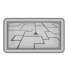 GPS navigation icon gray monochrome style vector