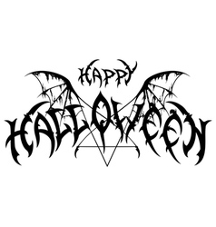 Halloween emblem in metal rock music style vector