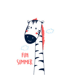 Hand drawing print design zebra vector
