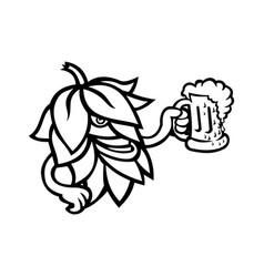 Hop plant drinking a mug ale mascot black vector