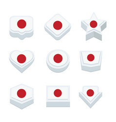japan flags icons and button set nine styles vector image