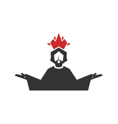 Jesus christ with a crown in form flame vector