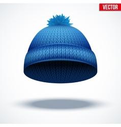Knitted woolen cap Winter seasonal blue hat vector