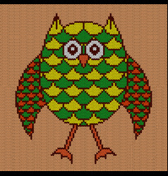 Knitting big amusing owl vector
