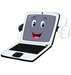 Laptop cartoon giving thumb up vector image