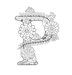 Letter P coloring book for adults vector image