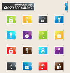 Lock and key bookmark icons vector