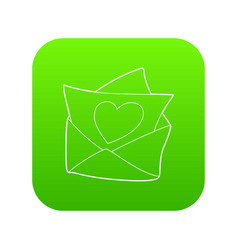 love letter icon green vector image
