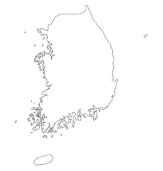 Map black outline south korea contour map vector