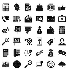 marketing in internet icons set simple style vector image