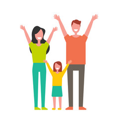 Mother father daughter rising hands up greetings vector