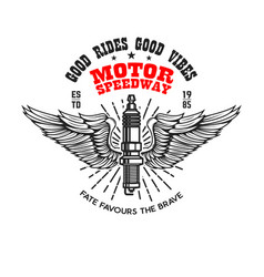 Motor speedway emblem template with winged vector