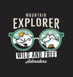 mountain explorer graphic for t-shirt prints vector image