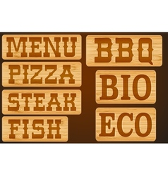 Nameplate of wood with words Menu Grill Steak vector