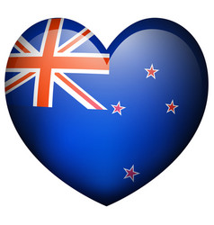 new zealand flag in heart shape vector image