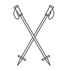 Nord walk sticks icon outline style vector