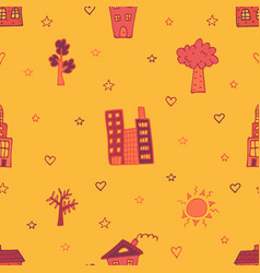 orange seamless pattern with skyscrapers houses vector image