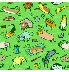 pattern with cats and dogs vector image