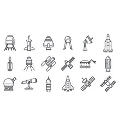 planet space research technology icons set vector image