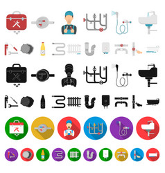 Plumbing fitting cartoon icons in set collection vector