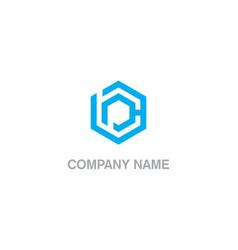 polygon labyrinth technology logo vector image
