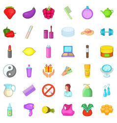 product icons set cartoon style vector image