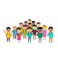 pupils and kids holding hands childrens group of vector image